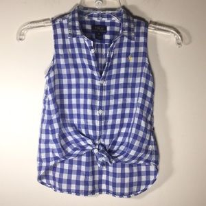 Polo Ralph Lauren tank Top Button blouse Plaid 6